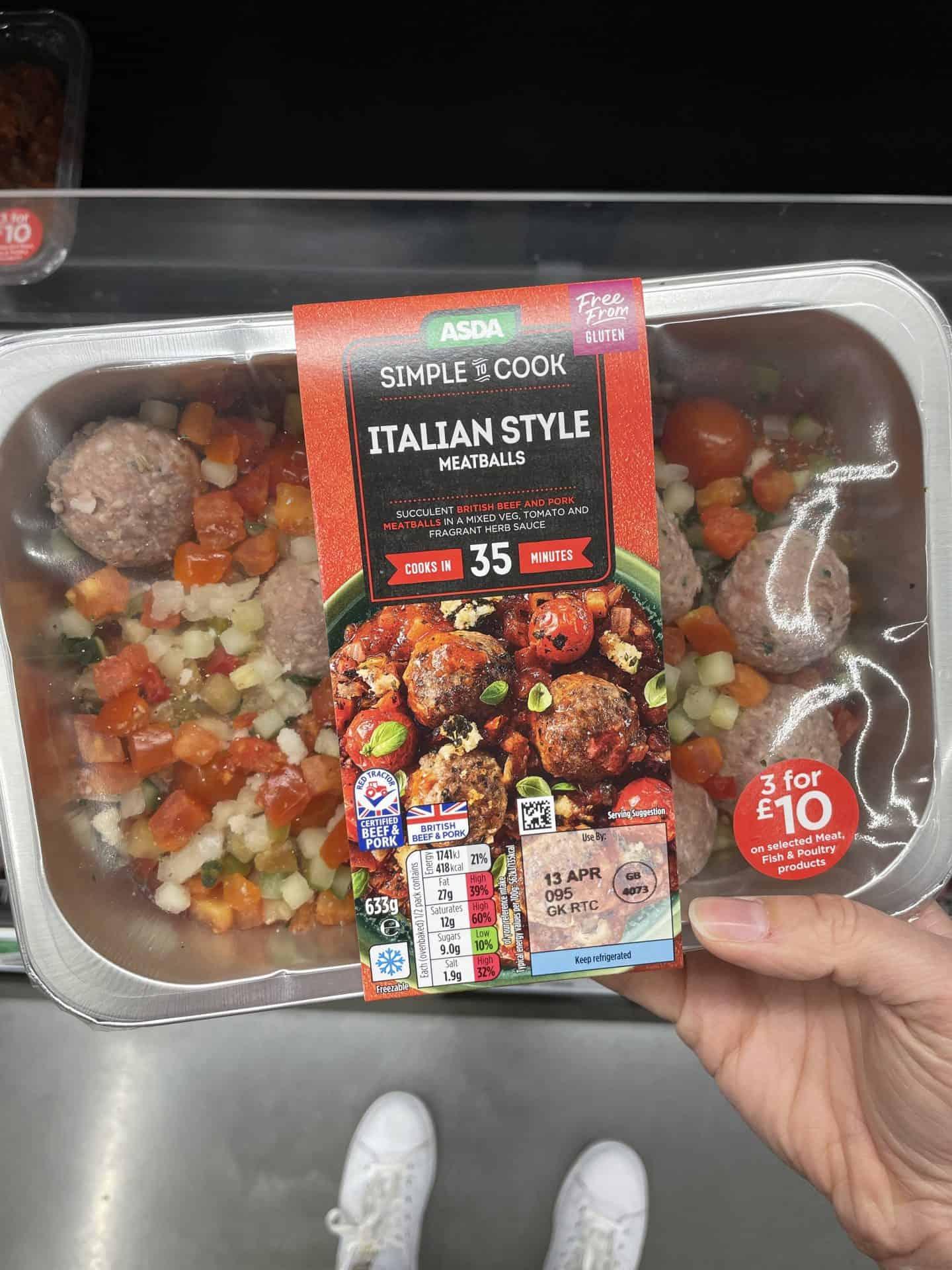 Asda Italian meatballs kit gluten free