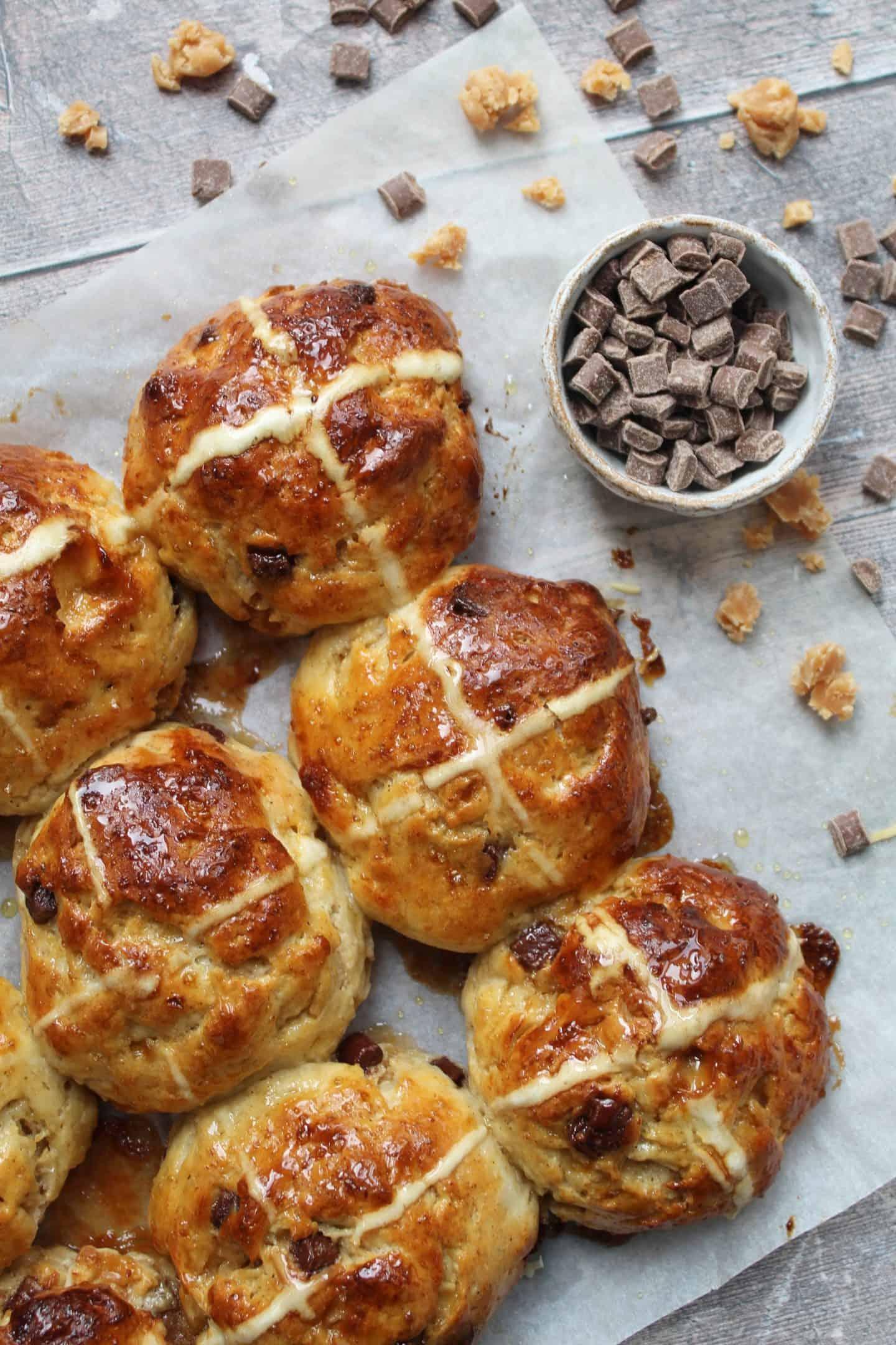 gluten free salted caramel hot cross buns