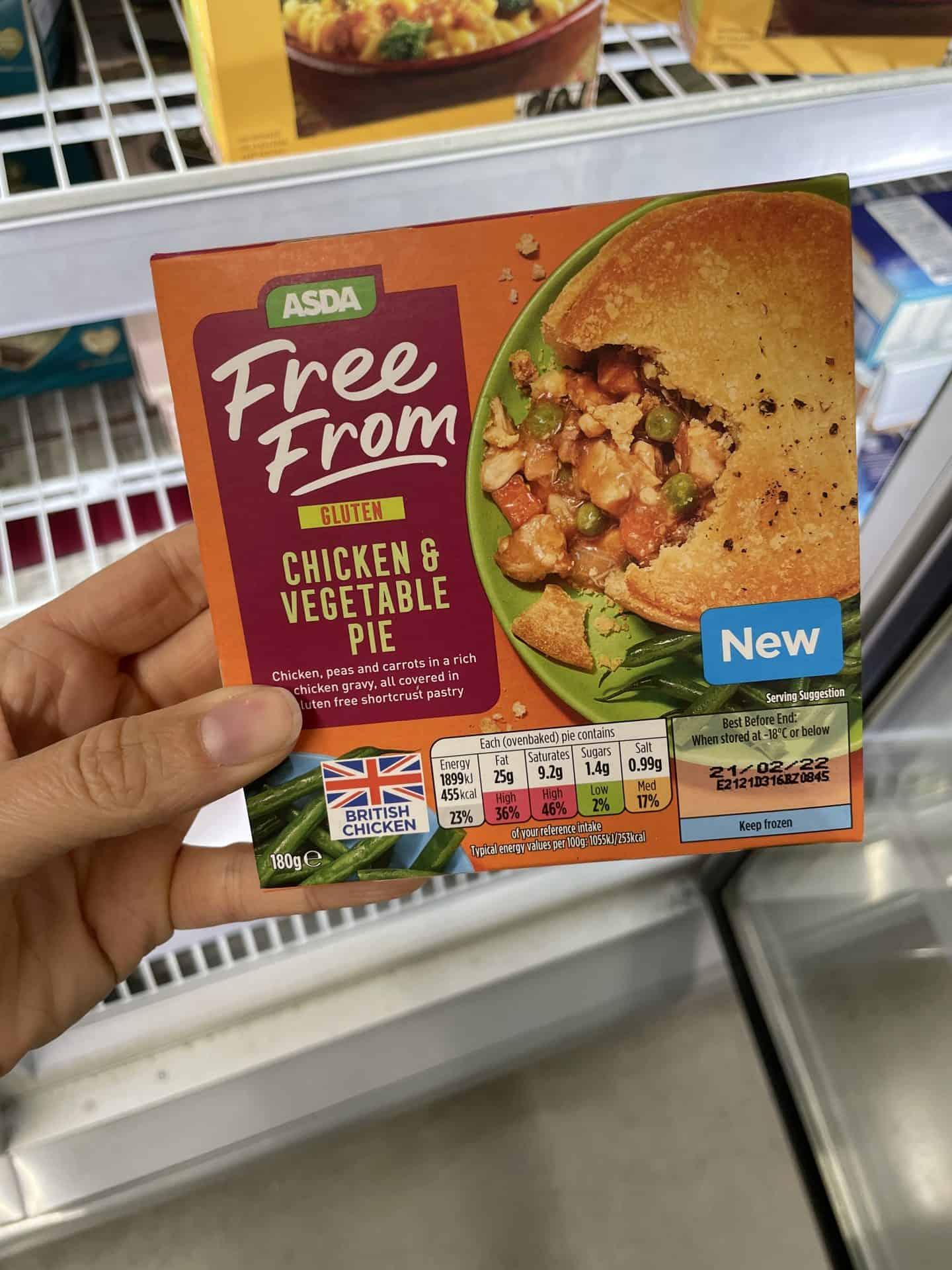 asda gluten free chicken and vegetable pie
