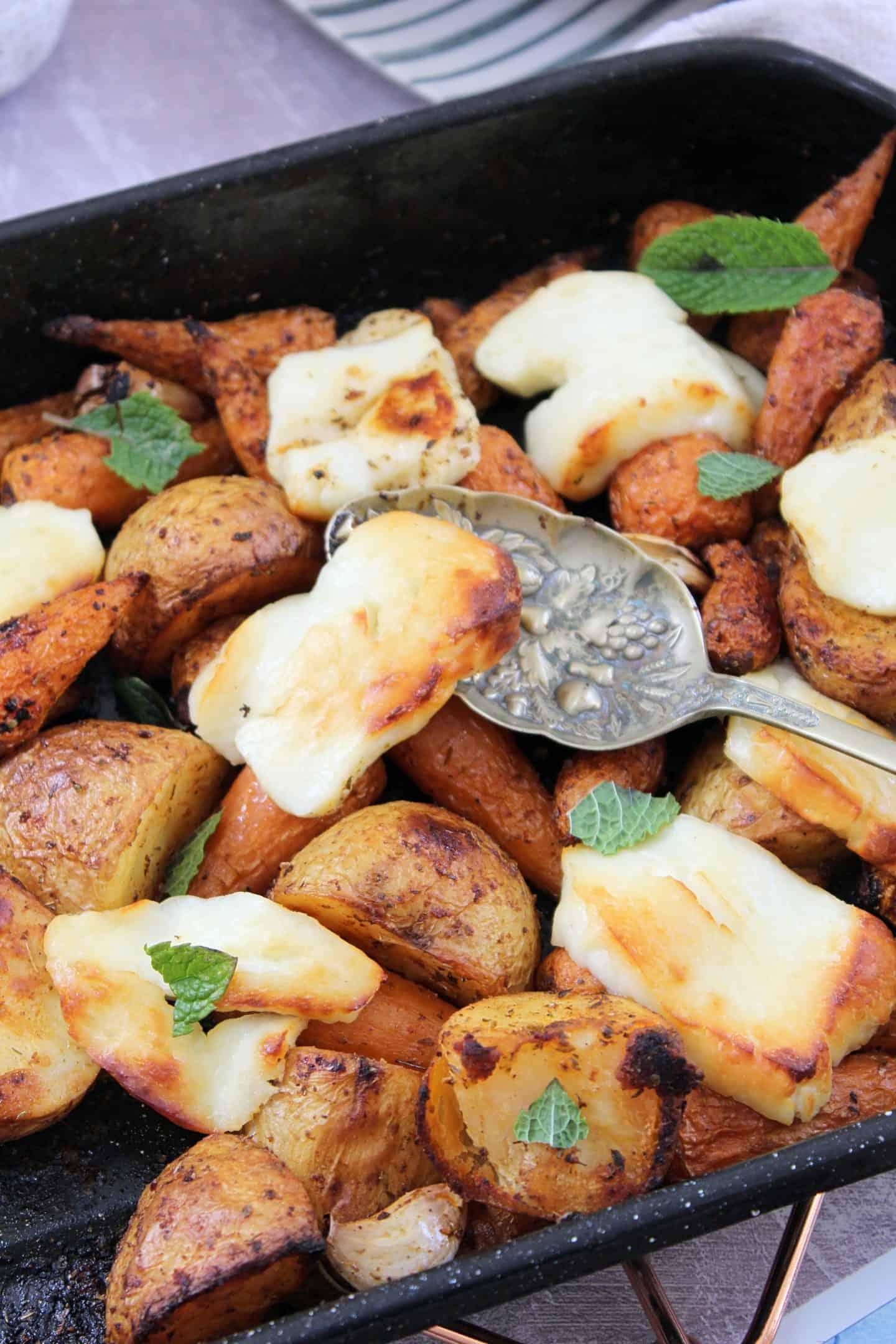 roasted halloumi traybake gluten free