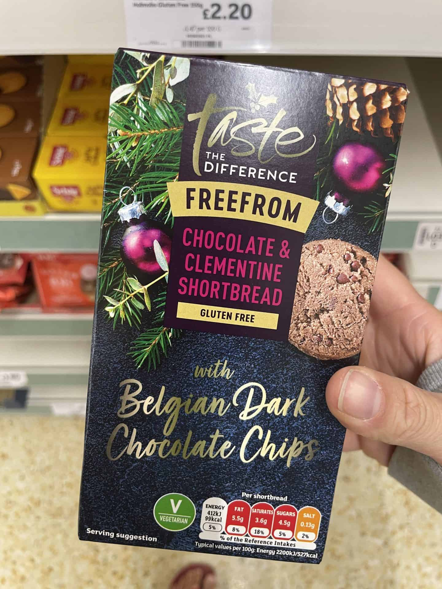 Sainsburys gluten free christmas food chocolate and clementine shortbread