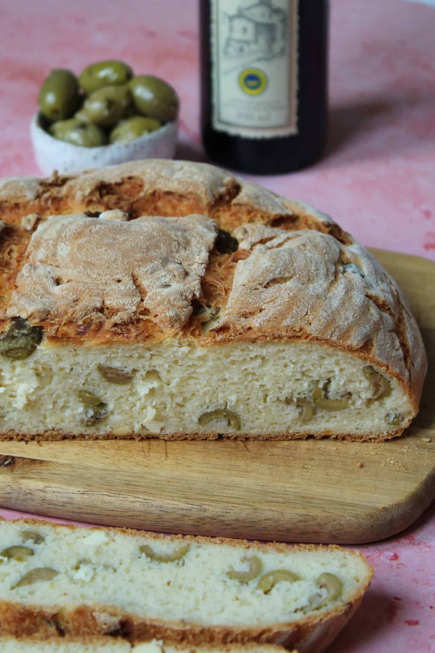 gluten free artisan bread with olives and feta no knead