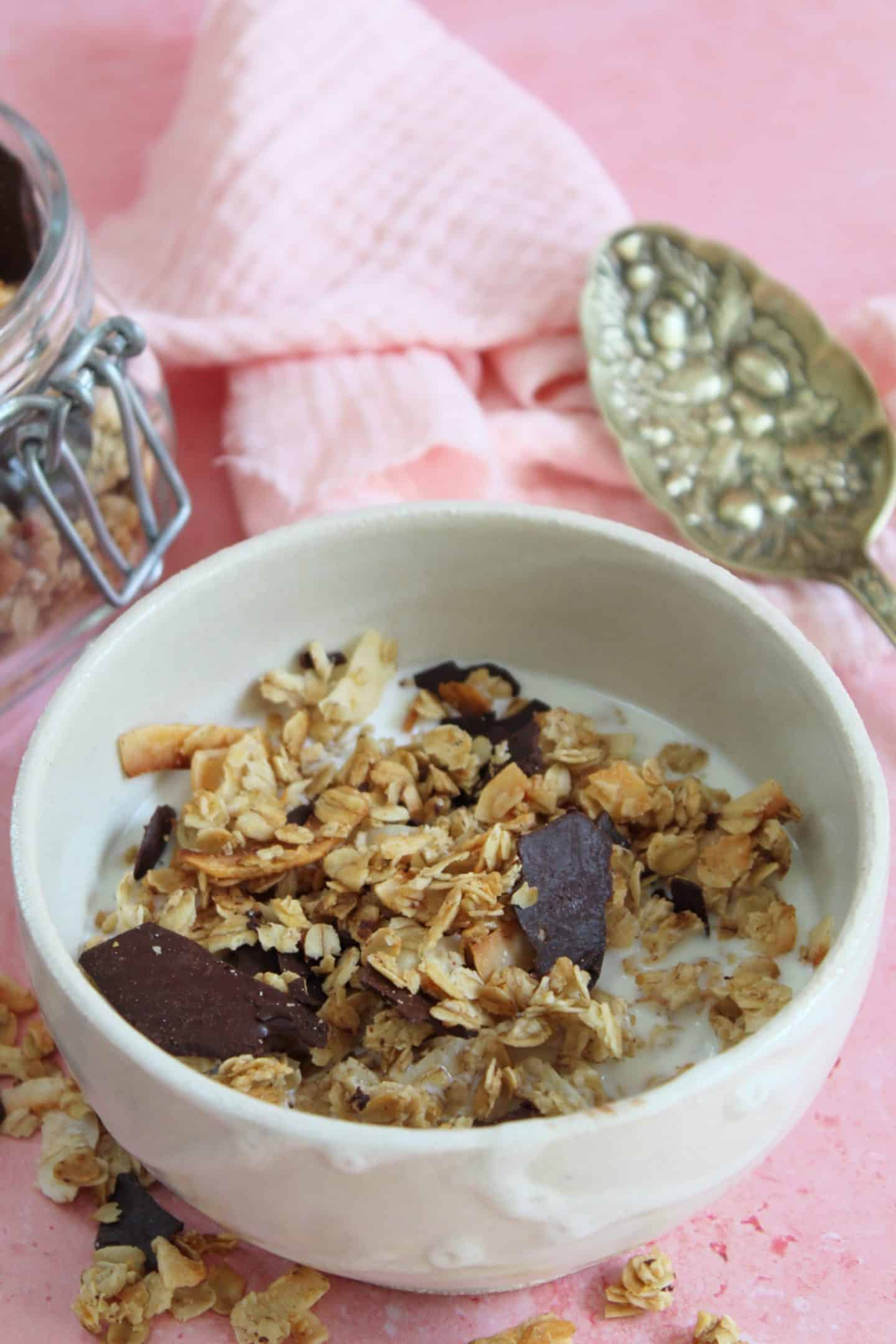 gluten free granola with chocolate and coconut